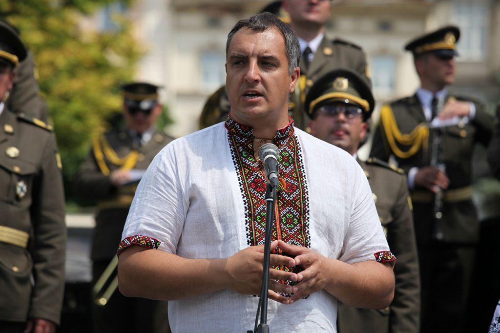 Голова Львівської обласної ради Олександр Ганущин на вічі до Дня Героїв