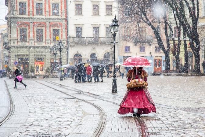 Сніг у Львові. Фото: Твоє місто.