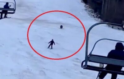 Зявилось відео, як у Румунії ведмідь гнався за лижником
