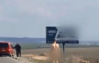 "Трасою ""Київ-Чоп"" прогулявся голий чоловік. Фото: скриншот"